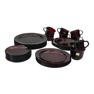 1960s Traditional Arcoroc Ruby Red Dinner Set - 33 Pieces For Sale
