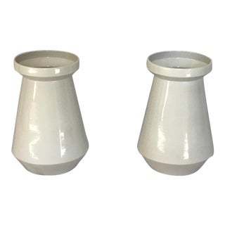 Large White Ceramic Vases - A Pair For Sale