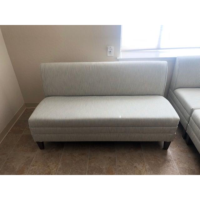 "Custom 3-piece Ballard Design bench w/ custom perennial fabric. Large piece is 60"" long x 33"" tall x 26.5"" deep Corner..."