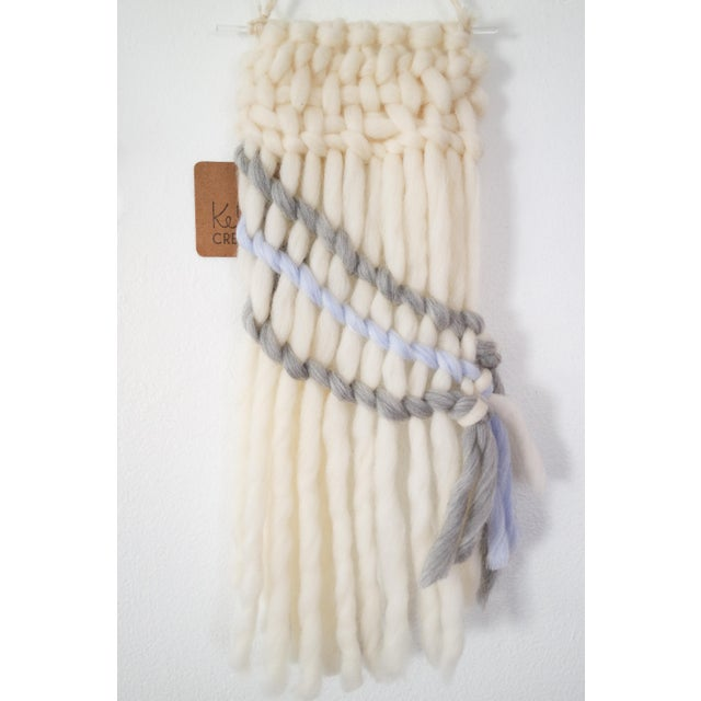 Handwoven Cream, Gray & Pale Blue Wall Hanging - Image 5 of 5