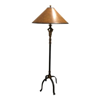 Neoclassical Style Black and Gold Floor Lamp With Leather Shade For Sale