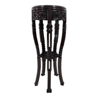 """Late 20th Century Vintage Chinese """"Endless Knot"""" Solid Round Rosewood Stands Pedestals (Pair) For Sale"""