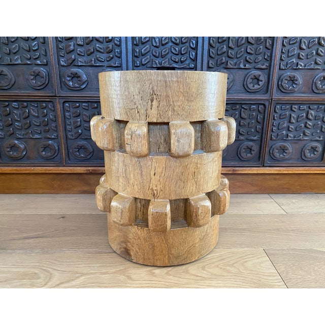 Tan Vintage Hand-Carved Wooden Stool Side Table For Sale - Image 8 of 8