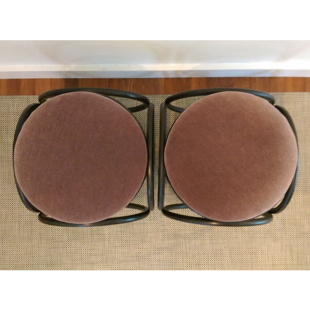 Mohair Thonet-Style Bentwood Ottomans - A Pair - Image 7 of 7