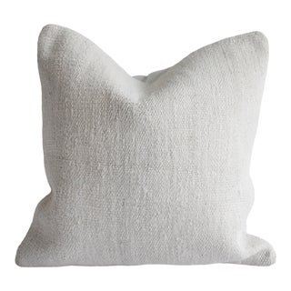 Vintage Turkish Hemp Rug Pillow Cover in Off White For Sale