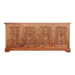 Carved Floral Enfilade Buffet For Sale