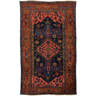 Antique Persian Hamedan Rug With Red & Blue 'Anchor' Patterns on Center Field For Sale