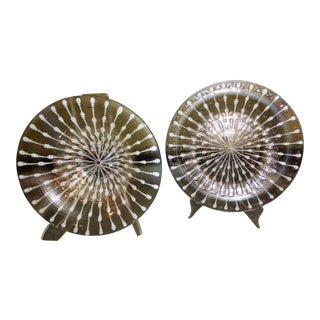 1960s Mid Century Modern Michael & Frances Higgins Fused Glass Charger & Bowl - 2 Pieces For Sale