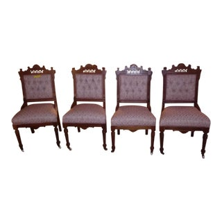 Late 19th Century Vintge Eastlake Style Parlor Chairs- Set of 4 For Sale