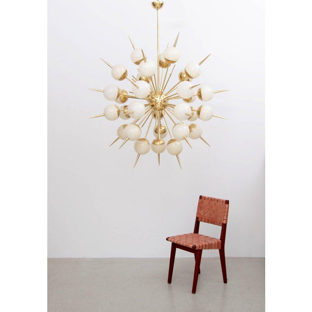 1 of 2 Huge Sputnik Murano Glass and Brass Chandelier Attributed to Stilnovo For Sale - Image 6 of 7