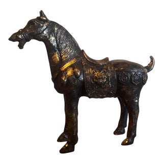 Ming Dynasty Iron With Gold Gilt Horse Sculpture For Sale