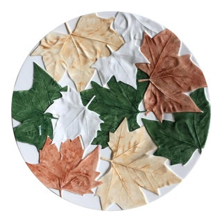 "Bordallo Pinheiro 13"" 'Plane Tree Leaves' Serving Platter For Sale"
