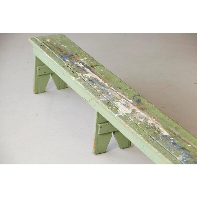 Pine Primitive Green Pine Bench with Lots of Color Splashes from an Artist's Atelier For Sale - Image 7 of 10