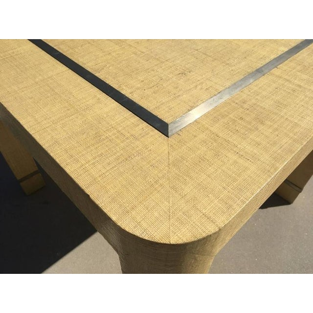 Muriel Rudolph Grasscloth and Brushed Stainless Steel Game Table by The Rudolph Collection For Sale - Image 4 of 8