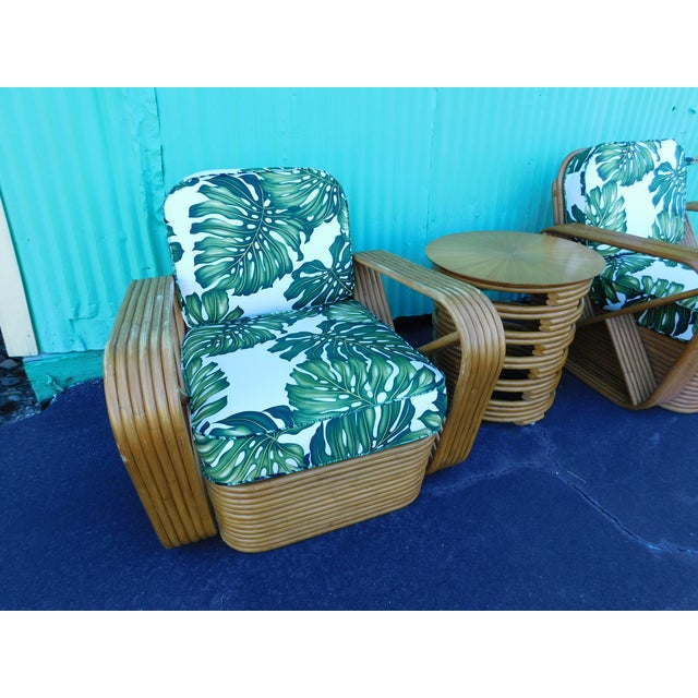 Boho Chic Thirteen Strand Paul Frankl Rattan Chairs & Side Table - Set of 3 For Sale - Image 3 of 11