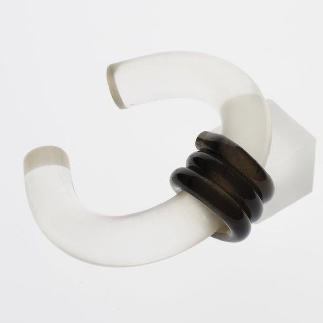 Lovely Lucite bracelet cuff bangle by French fashion designer Inna Cytrine, Paris. Elegant cuff design with tube shape...