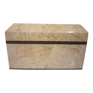 1970s Tessellated Pink Marble Box For Sale