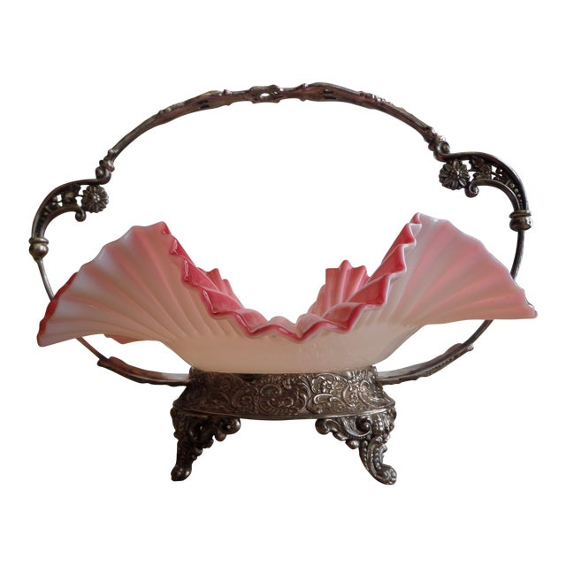 Victorian Quadrupled Silver Plated Bridal Basket & Ruffled Bowl - A Pair - Image 1 of 11