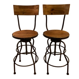 Wood and Metal Industrial Bar Stools - A Pair For Sale