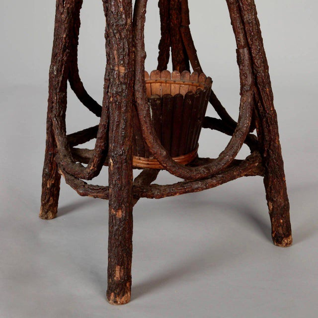 French Round Bent Willow Twig Table With Star Design Inlay - Image 6 of 9