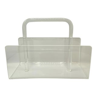 Vintage MCM Lucite and Acrylic Magazine Caddy With Handle For Sale
