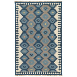 Jaipur Living Zebulon Handmade Geometric Navy/ Gray Area Rug - 5′ × 8′ For Sale