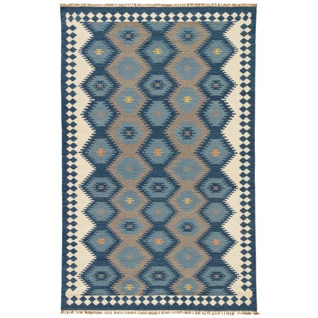 Jaipur Living Zebulon Handmade Geometric Navy/ Gray Area Rug - 5′ × 8′ For Sale