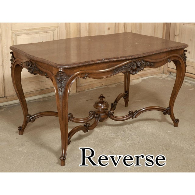 19th Century French Louis XV Rouge Marble Top Walnut Library Table For Sale In Dallas - Image 6 of 10