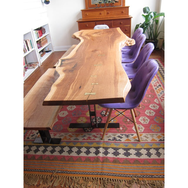 Brutalist Massive Dining Table - Modern Solid Oak Live Edge Slab Conference Table For Sale - Image 3 of 11