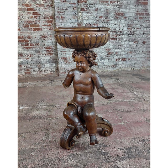 18th Century French Hand-Carved Walnut Cherub With a Plant Stand For Sale - Image 10 of 10