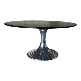 Modern Black Marble Round Table With Pewter Tulip Base For Sale