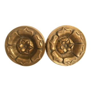 Early 20th C Brass Drapery Tiebacks - a Pair For Sale