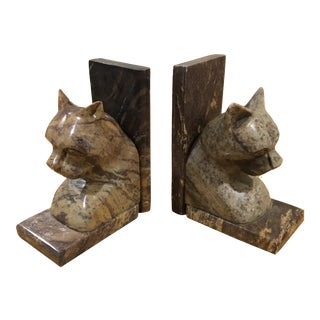 Late 20th Century Marble Cat Sphynx Bookends- A Pair For Sale