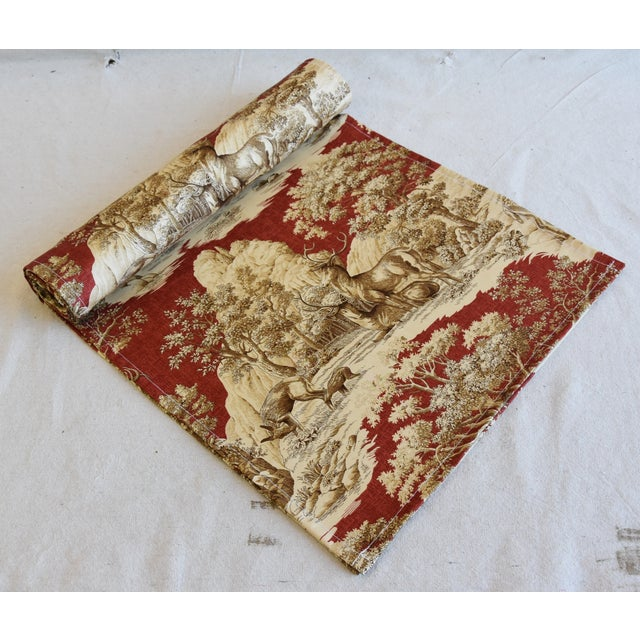"Textile Custom Woodland Nature Deer & Fawn Toile Table Runner 110"" Long For Sale - Image 7 of 7"