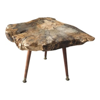 Live Edge Coffee Table Burl Wood Mid Century Style For Sale