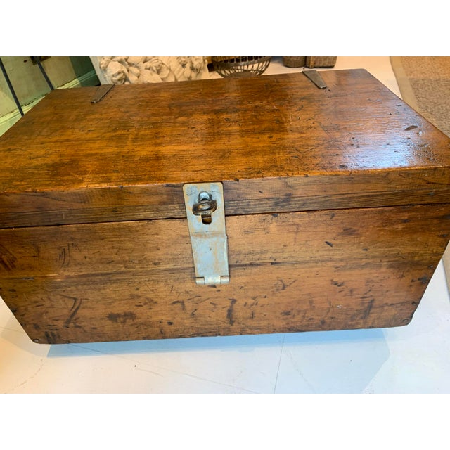 American 1910s Vintage Wood Trunk For Sale - Image 3 of 9