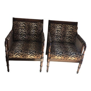 1970s Vintage Animal Print and Cane Side Chairs - Pair For Sale