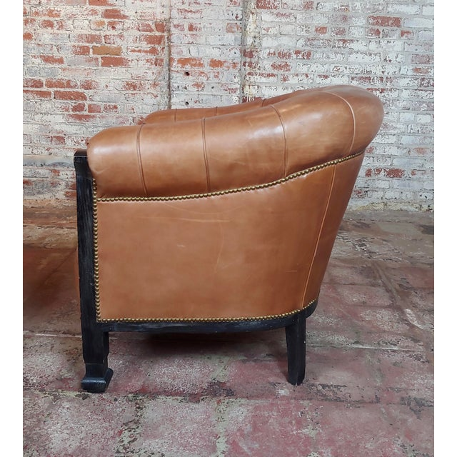 Brown Fabulous Vintage Club Chairs W/Tufted Brown Leather-A Pair For Sale - Image 8 of 11