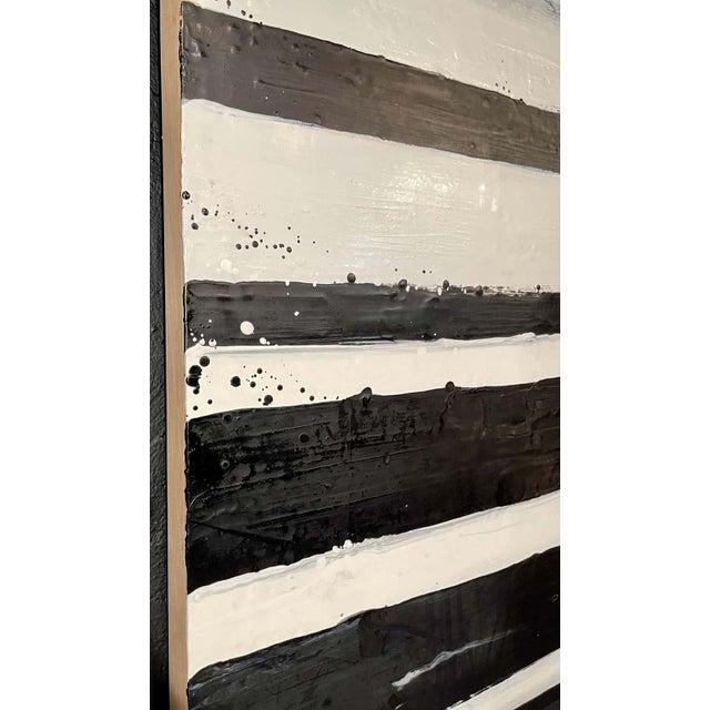 """1990s Lynn Basa Encaustic Black and White Stripe Panel """"Doppleganger"""" 2013 For Sale - Image 5 of 12"""