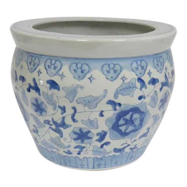 Chinese Porcelain Blue & White Jardiniere For Sale