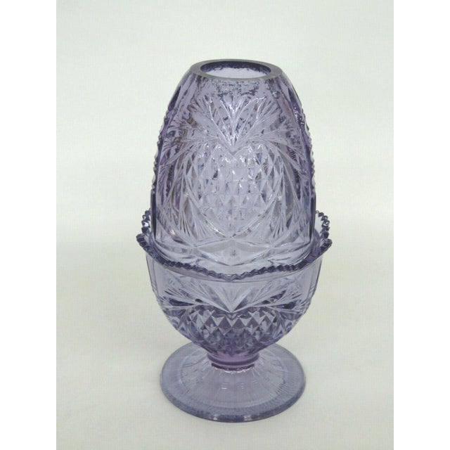 Fenton Wisteria New Heart Purple Glass Two Piece Fairy Lamp Candle Holder For Sale - Image 10 of 11