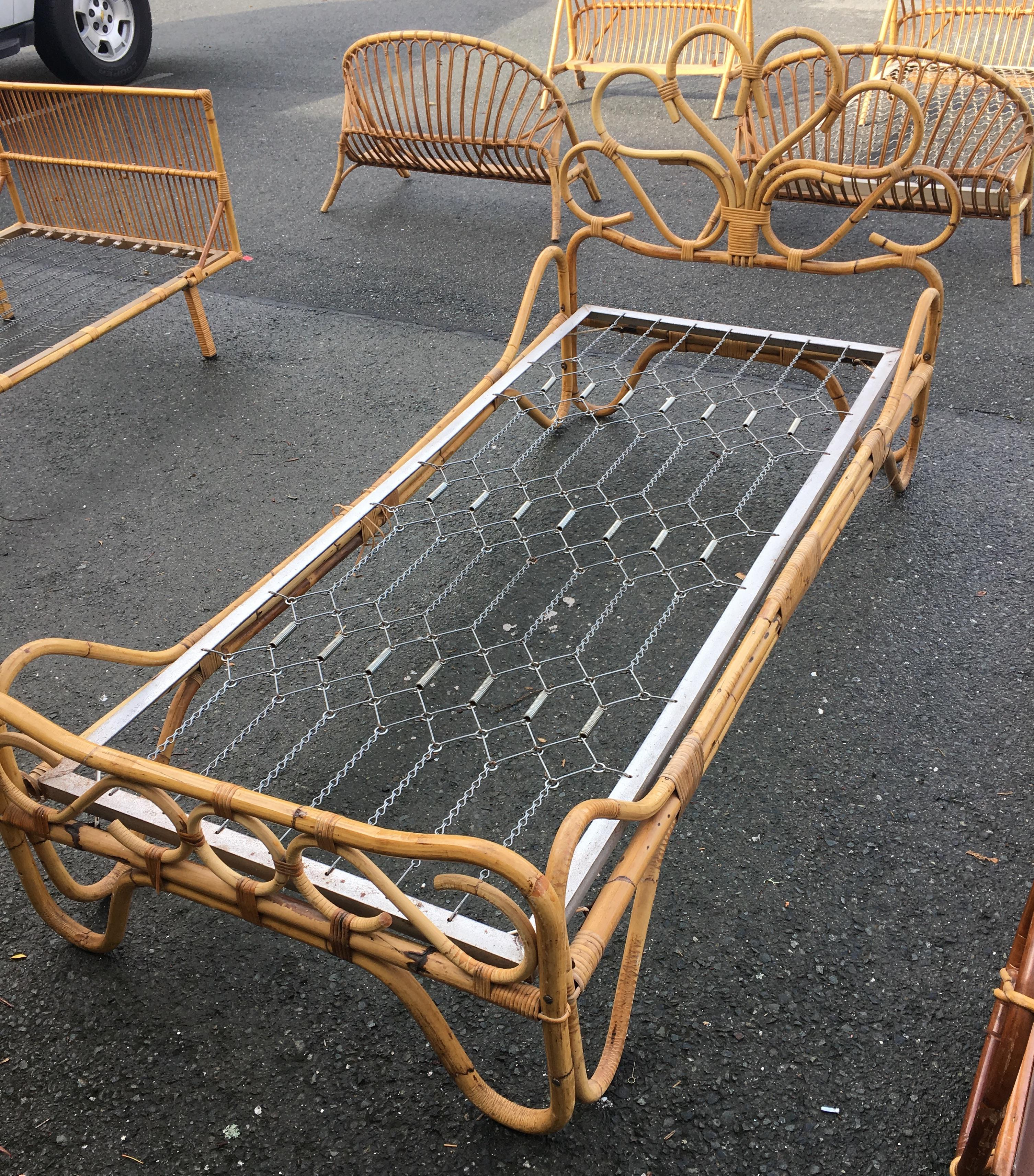 Vintage French Rattan Bamboo Daybed Chairish