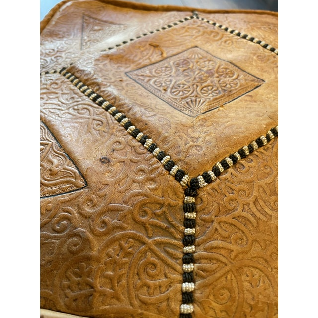Turkish Ornate Turkish Imprinted Leather Poof For Sale - Image 3 of 7
