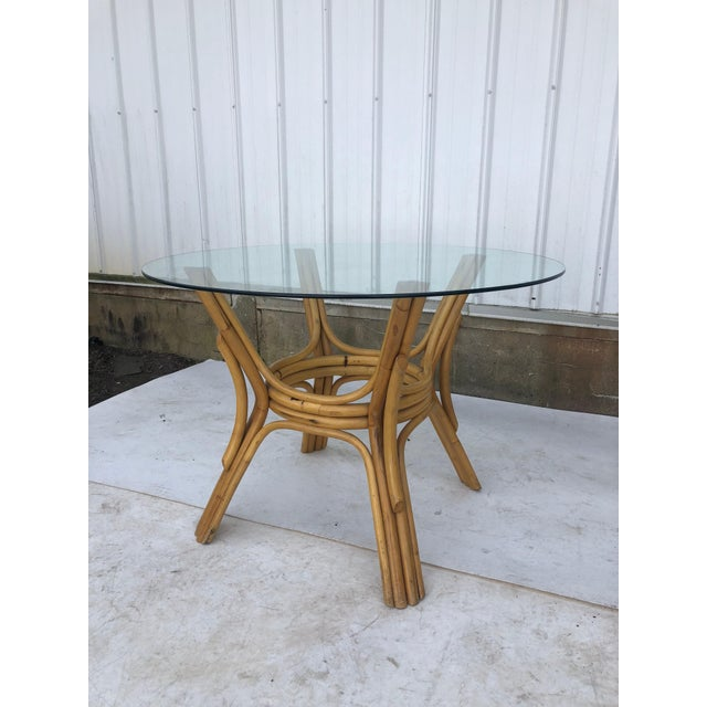 Vintage Glass Top Rattan Table and Wheeled Chairs Set - Set of 5 For Sale - Image 9 of 13