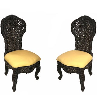Early 20th Century Hand-Carved Rosewood Chairs- A Pair Preview