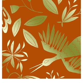 Julia Kipling Otomi Grand Wallpaper, 3 Yards, in Dusk, Gold Flash For Sale