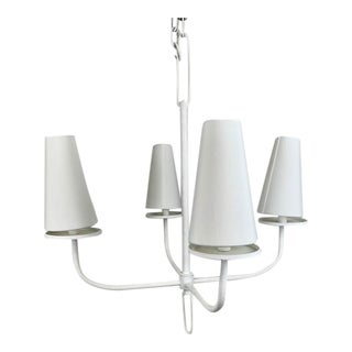 Hand Rolled White Chandelier With Custom White Shades For Sale