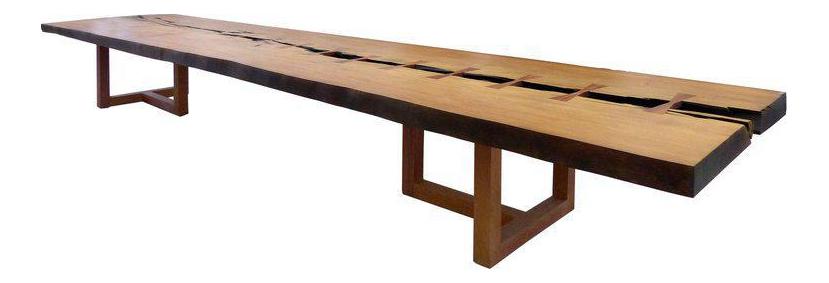 brazilian wood furniture. Monumental Brazilian Amazon Garapa Wood Table By Artist Valeria Totti - Image 1 Of 11 Furniture