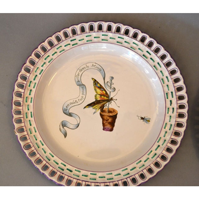 Art Nouveau French Faience Enamel Decorated Emile Galle Nancy Plates, Signed - Set of 6 For Sale In Miami - Image 6 of 13
