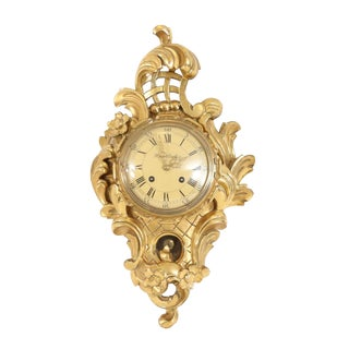 Small Rococo Style Gold Birch Wall Clock For Sale